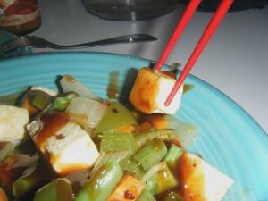 Tofu Stir Fry, chopsticks essential.